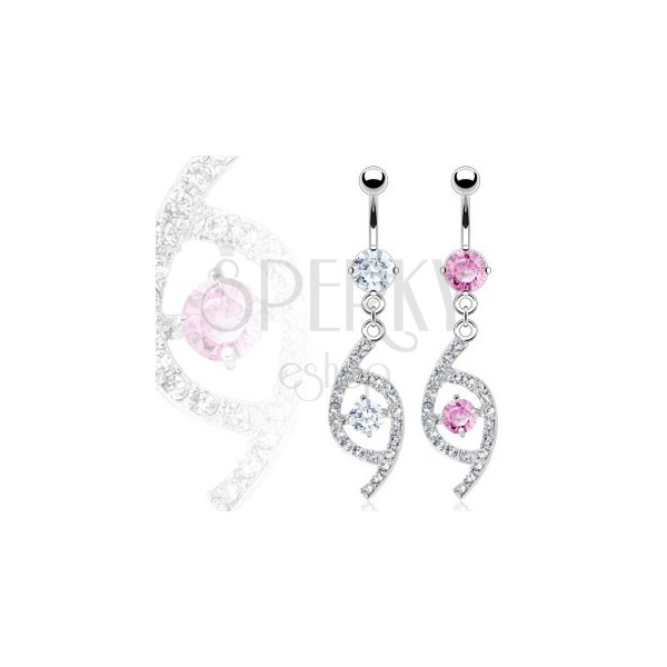 Luxurious belly ring - teardrop with zircons
