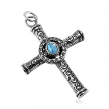 Massive 316L steel pendant, patinated Celtic cross with a blue oval