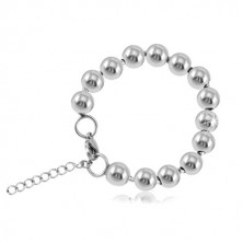 Steel bracelet in silver colour, shiny balls connected with sticks