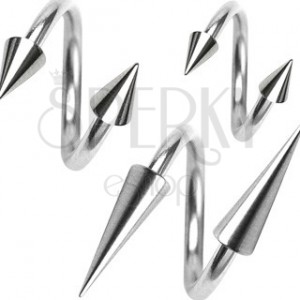 Stainless steel twist ring with spiked bead, 1,6 mm