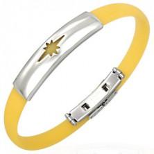 Rubber bracelet, star pattern - yellow