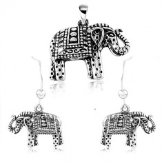 925 silver set, earrings and pendant, engraved elephant with black patine