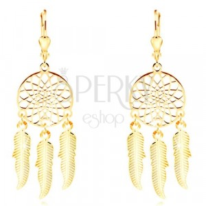 Yellow 585 gold earrings - engraved dreamcatcher with three feathers