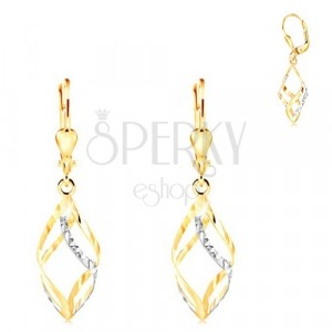 14K gold earrings - shiny two-coloured spiral decorated with tiny indents