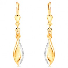 14K gold earrings - shiny leaf decorated with indents and white gold
