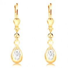14K gold earrings - shiny drop, ground white gold rhombus