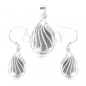 925 silver set - earrings and a pendant, engraved drop with clear zircons