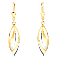 Dangling 585 gold earrings - big two-coloured grain with cuts
