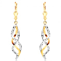 14K gold earrings - entwined waves of yellow and white gold