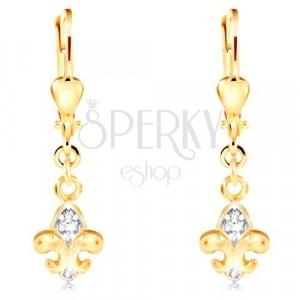 14K gold earrings - two-coloured Fleur de Lis symbol, clear zircons