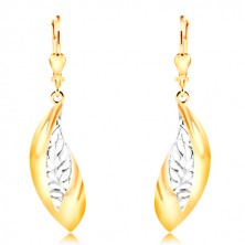 14K gold earrings - big curved leaf, white gold stripe with indents
