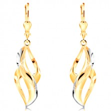 585 gold earrings - curved leaf with stripes of white gold and two cuts