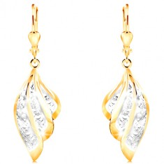 Earrings in combined 585 gold - two-coloured angel wing with ornaments