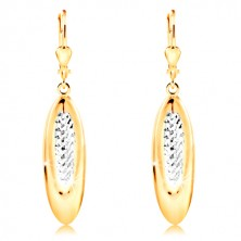 14K gold earrings - dangling oval decorated with tiny indents and white gold