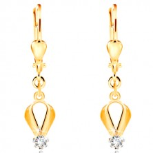 585 gold earrings - drop contour, circular clear zircon in a mount