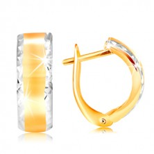 14K gold earrings - shiny arch with refined edges of white gold
