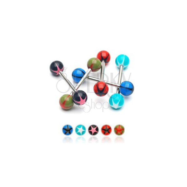 Tongue barbell an UV ball with a star