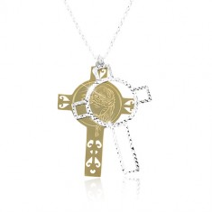 925 silver necklace, engraved cross in gold and silver colour