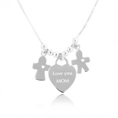 """Silver necklace 925, heart with the inscription """"Love you MOM"""", boy and girl"""