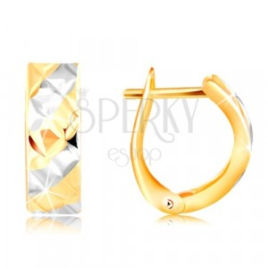 Gold earrings 585 – stripes in yellow and white gold, shiny cuts