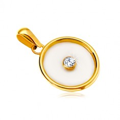 Pendant in 14K yellow gold – circle with nacre filling and a clear zircon in the middle