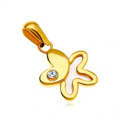 585 gold pendant – a flower with a round zircon and a half of white nacre