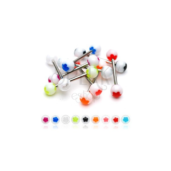 White tongue ball piercing - colourful flower