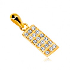 14K yellow gold pendant – rectangle inlaid with clear zircons