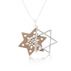 Necklace made of 925 silver, double star with cut-outs, copper and silver colour