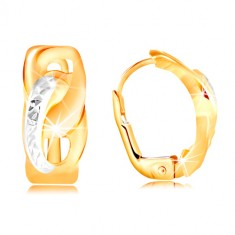 585 Gold earrings – two joined ovals with tiny cuts