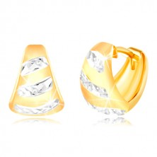 Gold 14K earrings – widened matt arc, shiny stripes made of white gold