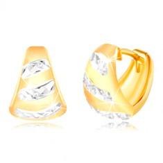 Gold 14K earrings – widened matt arc, shiny stripes made of white gold