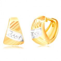 Earrings made of gold 585 – rounded triangle, diagonal cuts, stripe of white gold