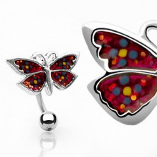 Belly button ring - butterfly with flowers