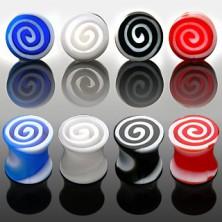 Ear plug - colourful spirals