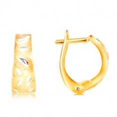 14K gold earrings - matt arc with shiny leaves made of white gold