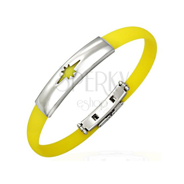 Rubber bracelet, star - yellow