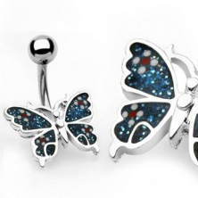 Butterfly navel ring with flowers