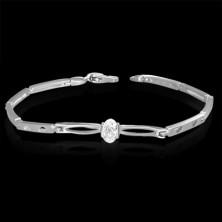 Wrist bracelet - zircon between ovals, hearts