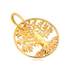 Yellow 585 gold pendant - circle with engraved tree of life