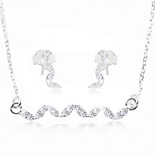 925 silver set, earrings and necklace - wave made of clear zircons