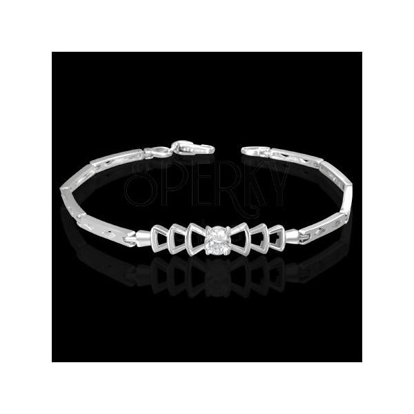 Women's bracelet - zircon in knit decoration, diamond shapes