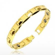 """Tungsten bracelet in gold colour - shiny """"H"""" links, pyramid, magnetic balls"""