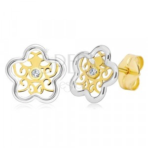 Earrings in 585 gold - flower in two colours with ornament and clear zircon