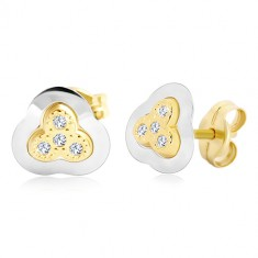 Earrings in 14K gold – three-leaf clover in two colours with embedded zircons