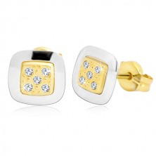 14K gold earrings - square with clear zircons in the middle, yellow and white gold