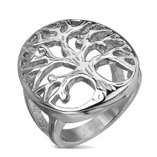 Stainless steel ring with a tree motif in a big oval, silver colour
