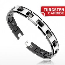 Tungsten bracelet in silver and black colour, with magnetic balls, shiny