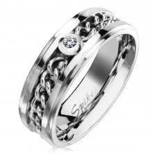 Steel ring in silver finish with chain and clear zircon, 7 mm