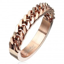 Stainless steel band in copper colour with a chain pattern, 4 mm
